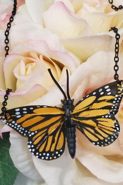 Monarch Butterfly Feather Necklace