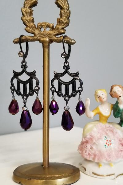 Black Harp and Groovy Purple Teardrop Earrings