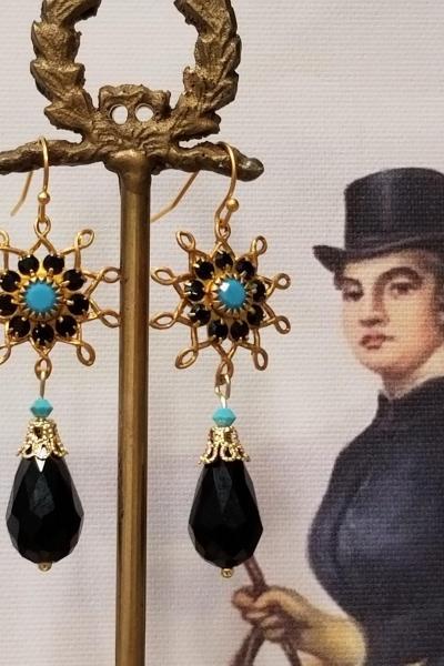 Black and Turquoise Flower Burst Dangle Earrings