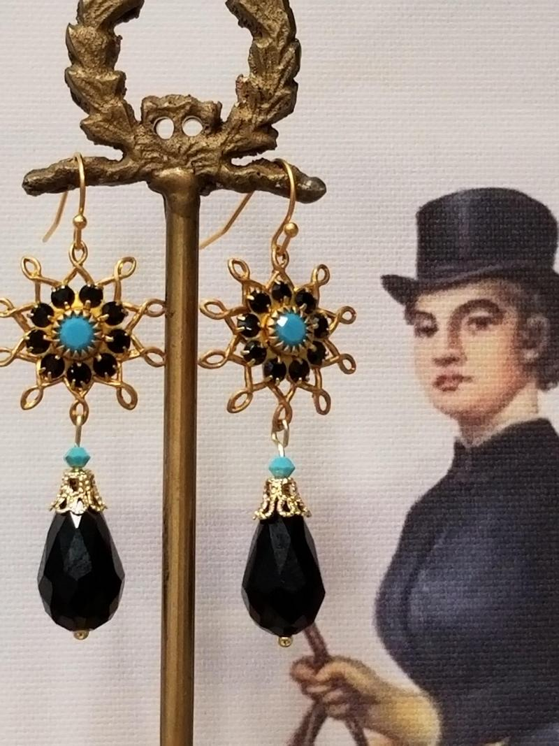Black and Turquoise Flower Burst Dangle Earrings