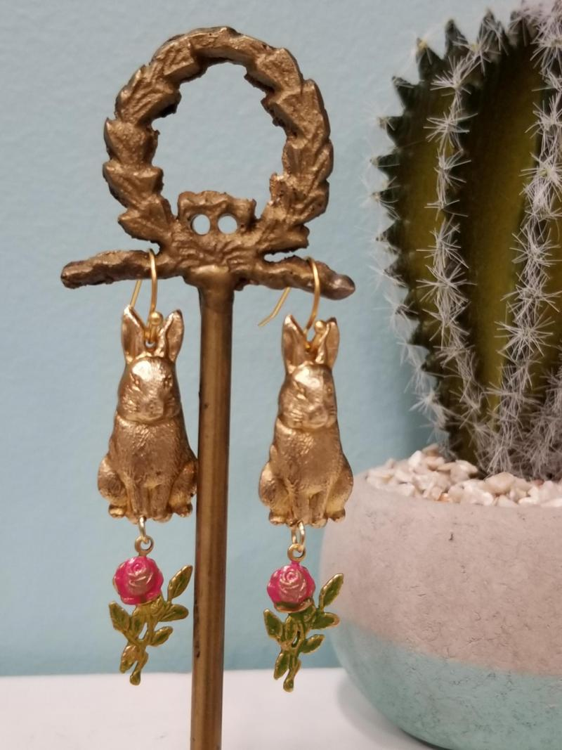Bunny Rabbit and Rose Earrings