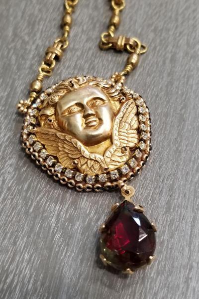 Vintage Cherub and Ruby Teardrop Necklace