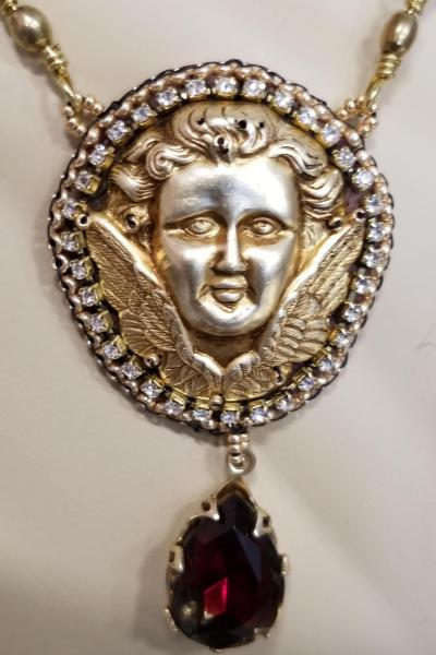 Vintage Cherub and Ruby Teardrop Necklace