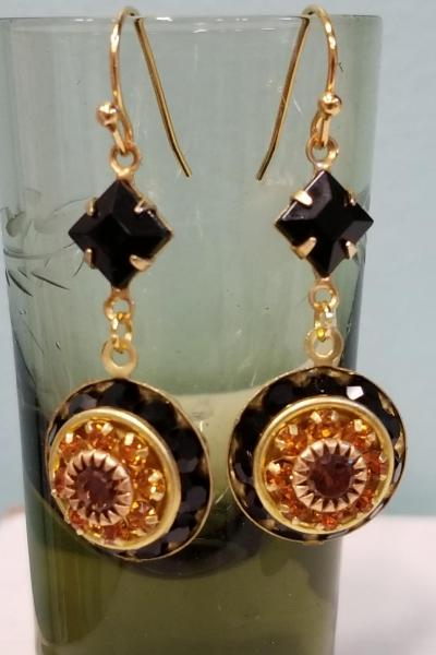 Dark Chocolate and Caramel Crystal Earrings