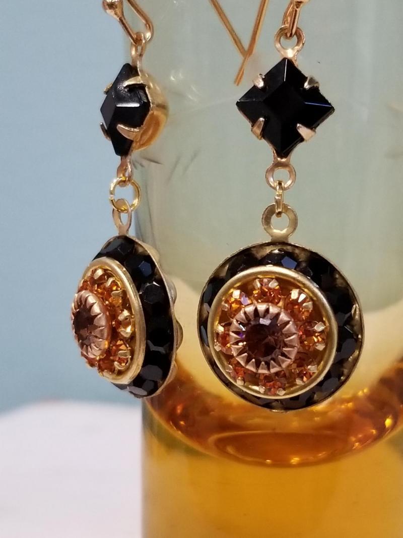 Dark Chocolate and Caramel Crystal Earrings