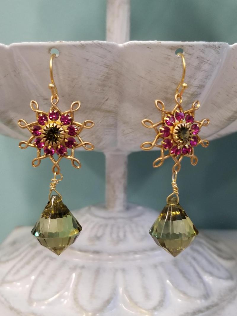 Magenta and Olive Flower Burst Dangle Earrings