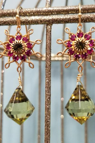 Magenta and Olive Flower Burst Dangle Earrings