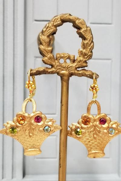 Victorian Flower Basket Earrings