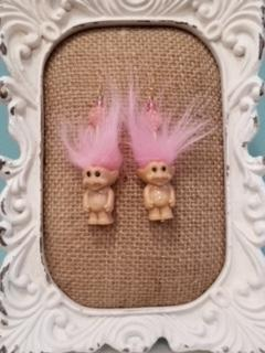 Light Pink Hair Troll Earrings