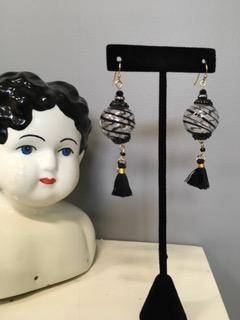 Blown Glass Black Swirl Globe with Tassles Earrings