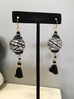 Blown Glass Black Swirl Globe with Tassles Earrings