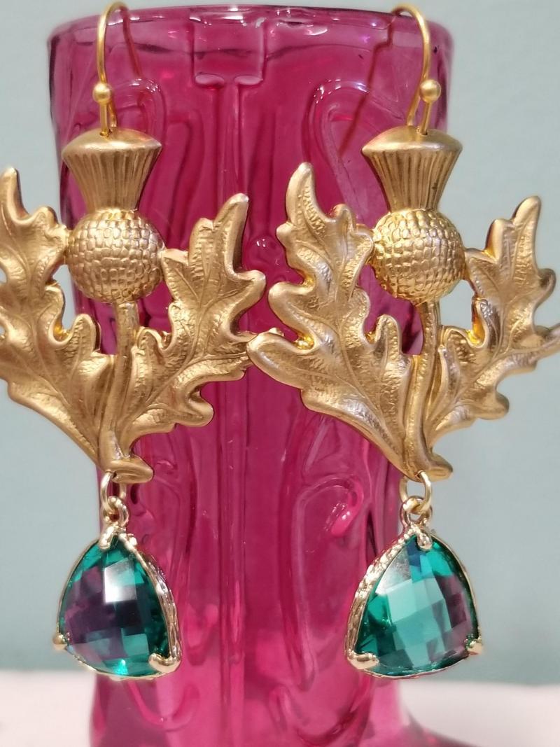 Scottish Thistle Flower Earrings