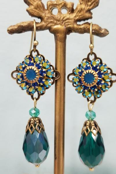 Victorian Crystal Peacock Earrings