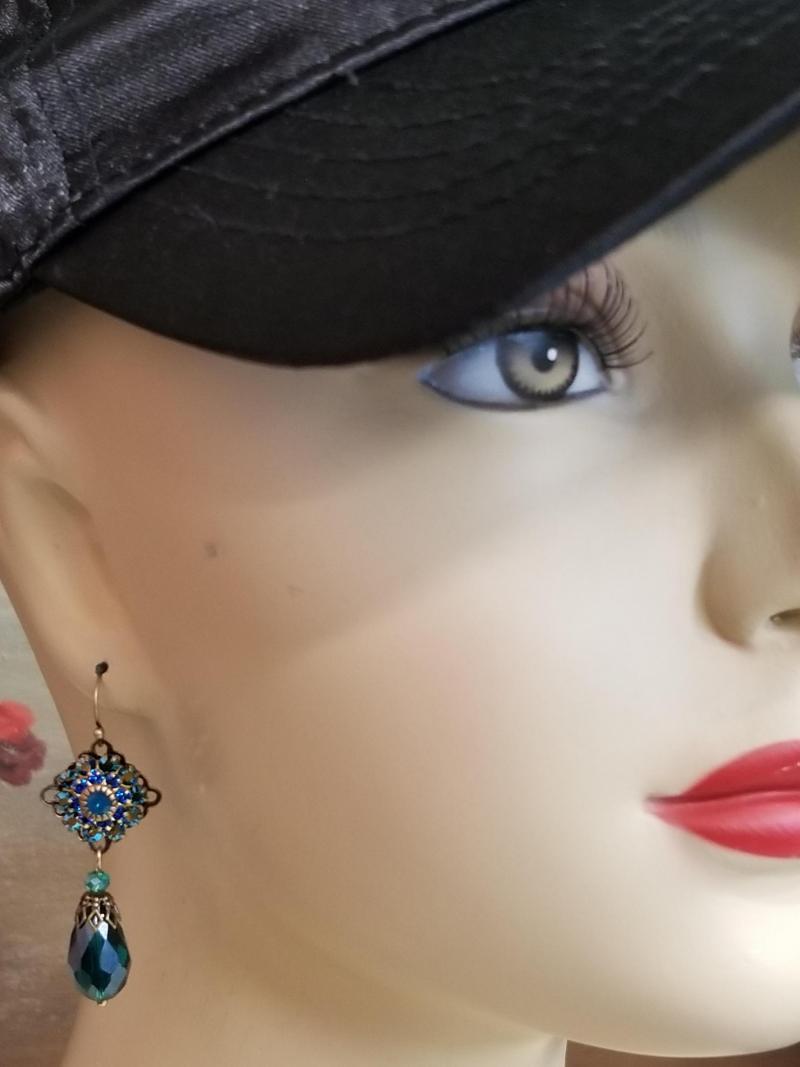 Victorian Crystal Peacock Earrings