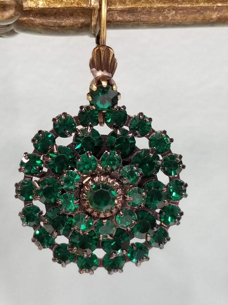 Vintage Emerald Green Crystal Earrings