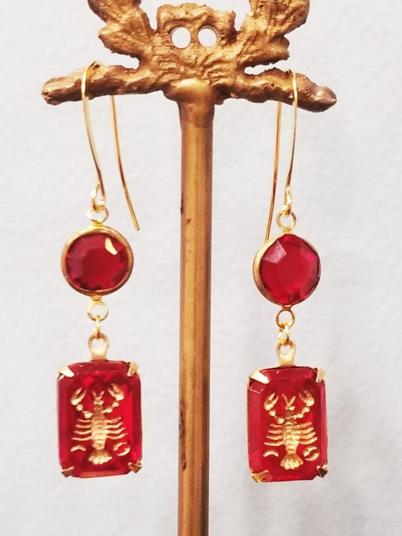 Vintage Ruby Lobster Intaglio Earrings