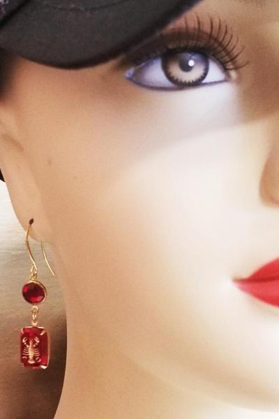 Vintage Ruby Lobster Intaglio Earrings