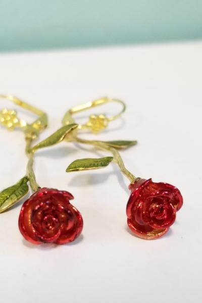 Long Stem Red Roses Earrings
