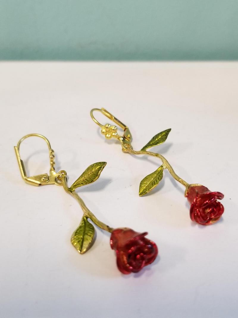 Long Stem Red Roses Earrings