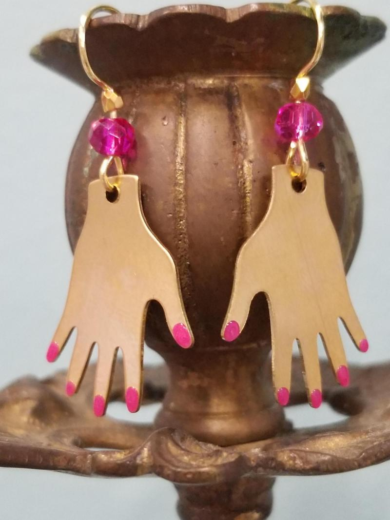Hands with Painted Nails Earrings