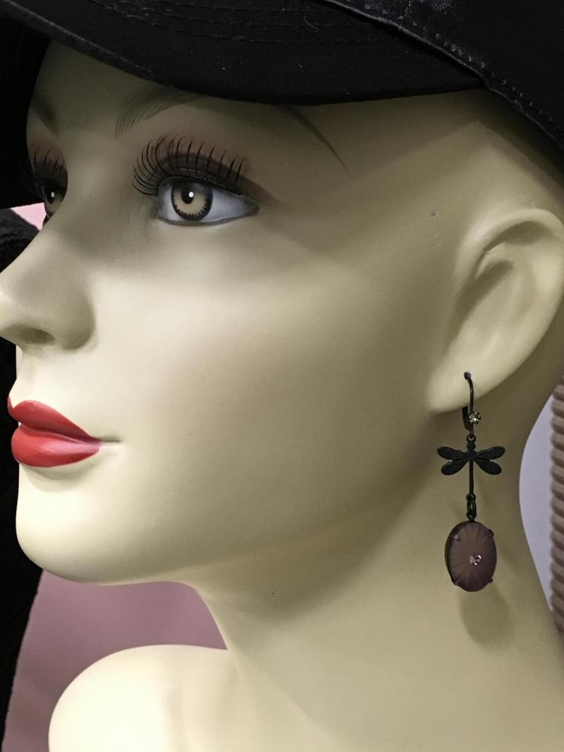 Black Raspberry Dragonfly Earrings
