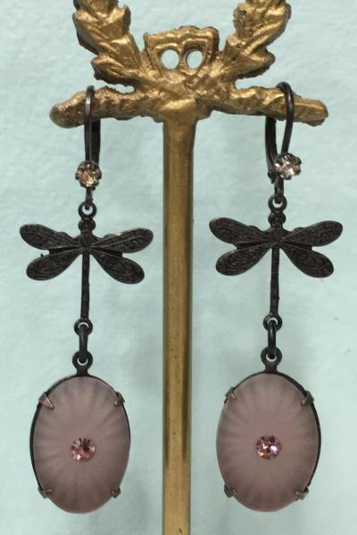 Black Raspberry Dragonfly Earrings