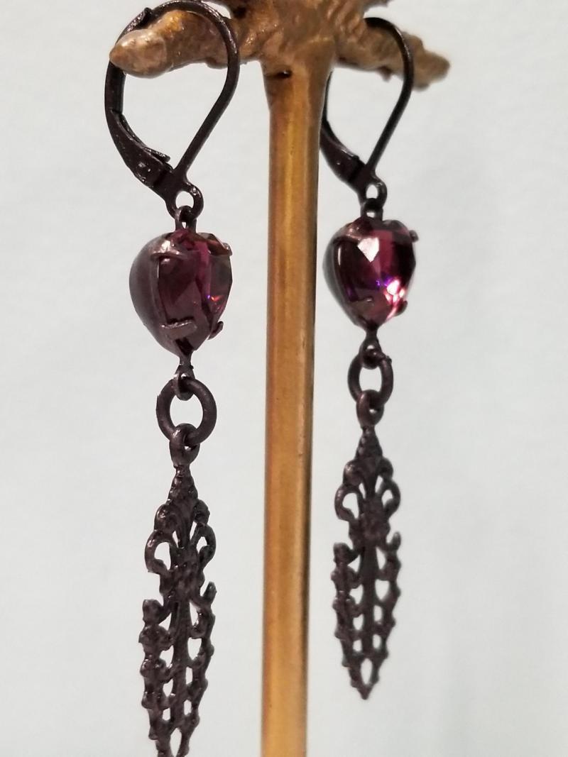 Gothic Purple Heart Earrings