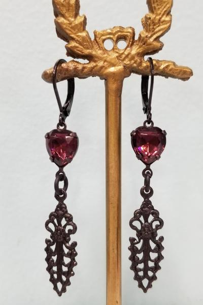 Gothic Purple Heart Earrings