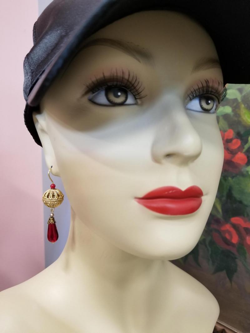 Caged Sphere Garnet Drop Earrings