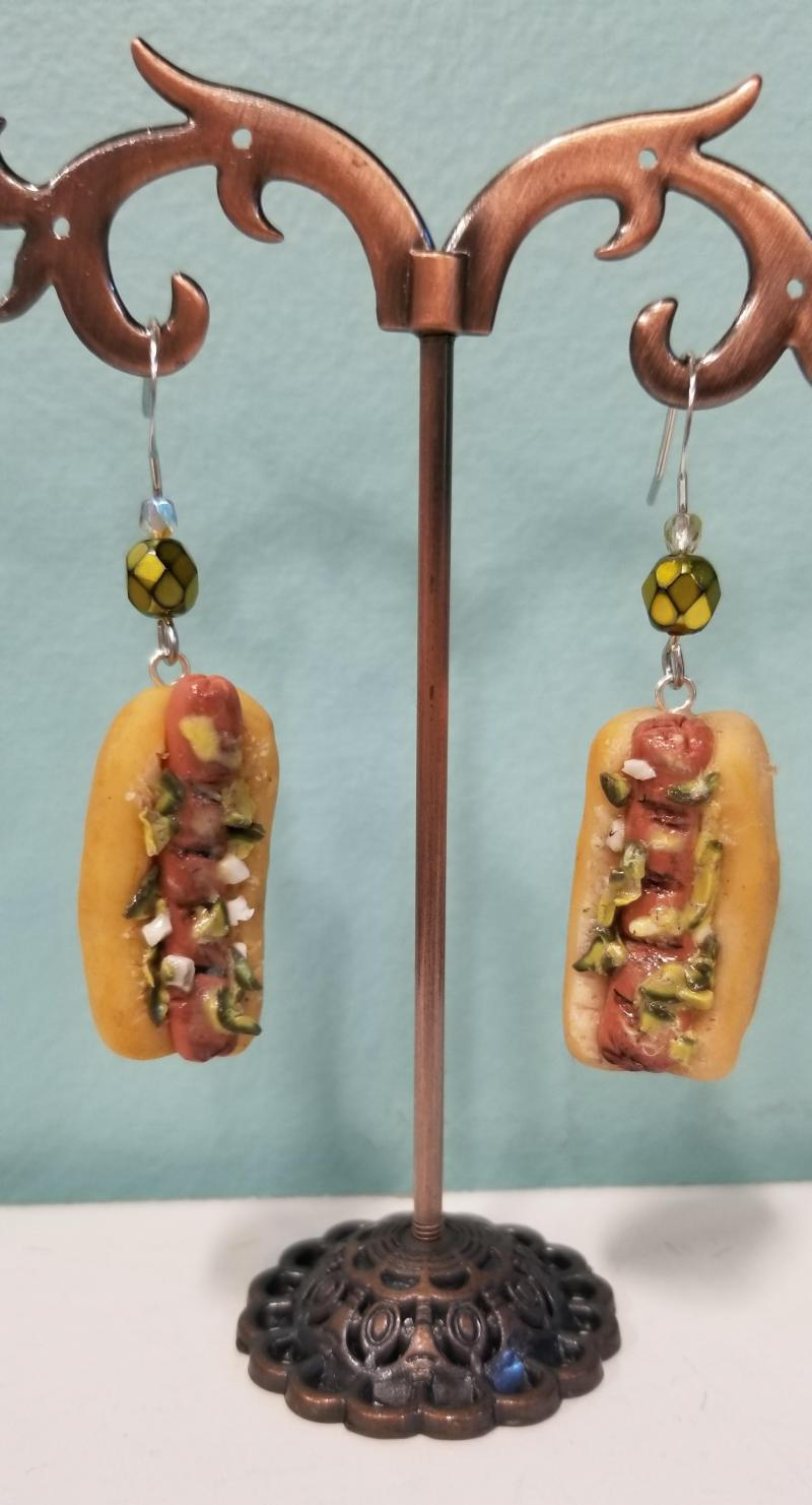 Hot Dog with Relish and Onions Earrings