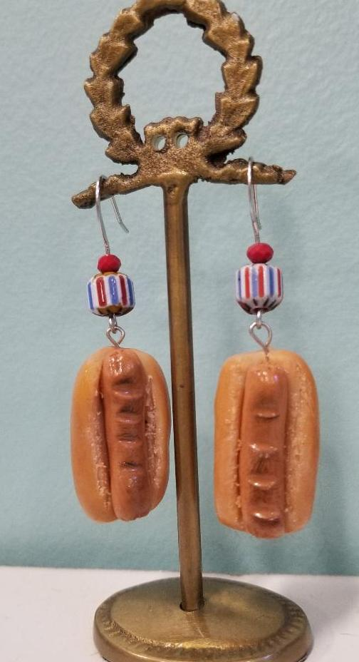 Bare Hot Dog without Condiments Earrings