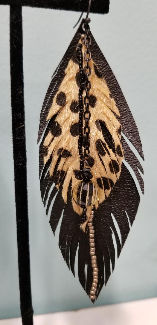 Faux Leather Feather Earrings (Black and Snow Leopard)