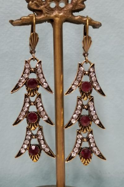 Garnet Red 1920's Style Earrings