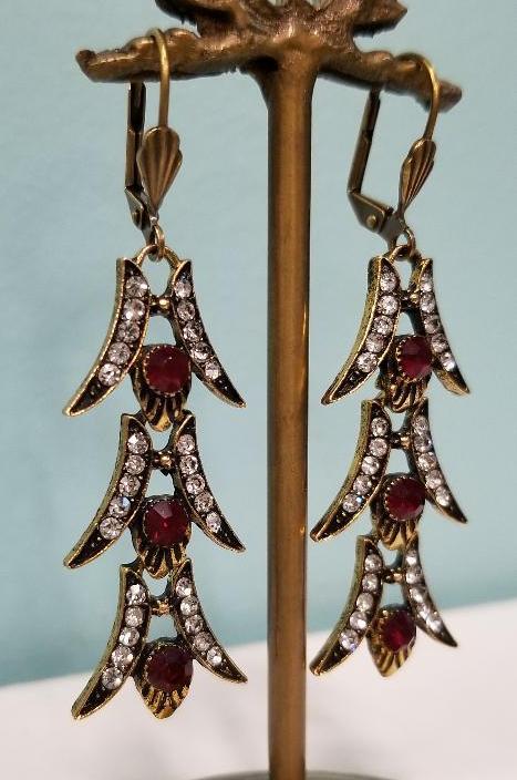 Garnet Red 1920's Style Earrings