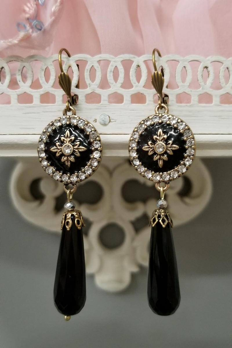 Imperial Black and Gold Circle Dangle Earrings