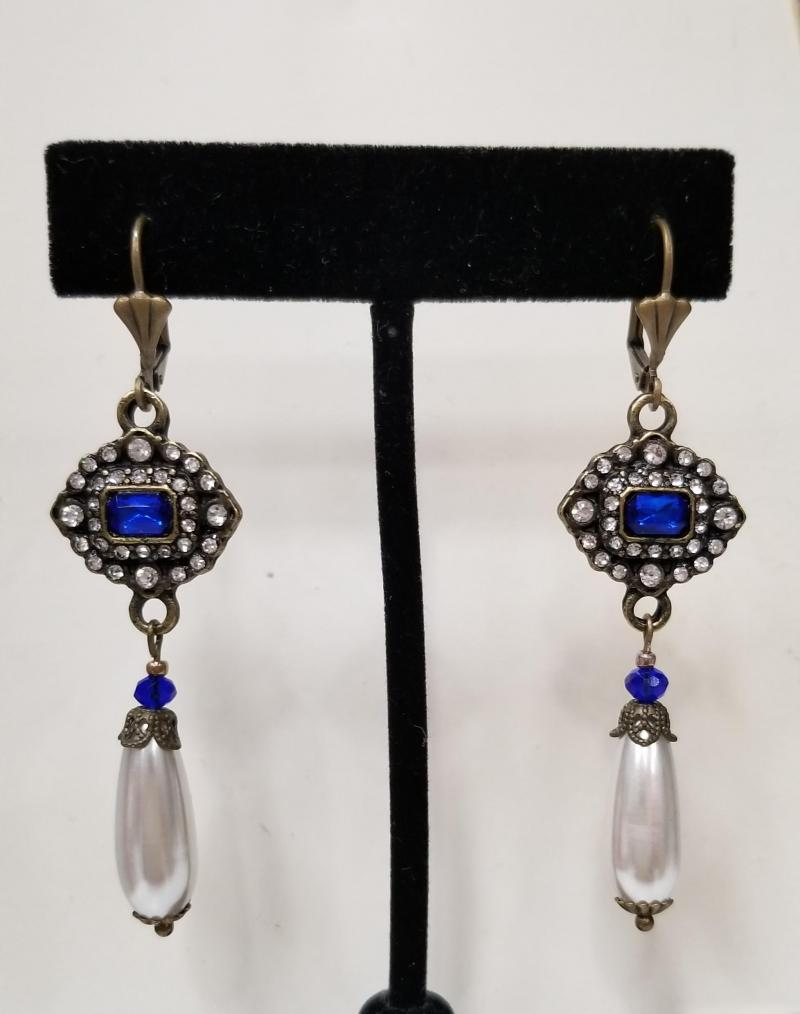 Royal Blue Antique Bronze Earrings