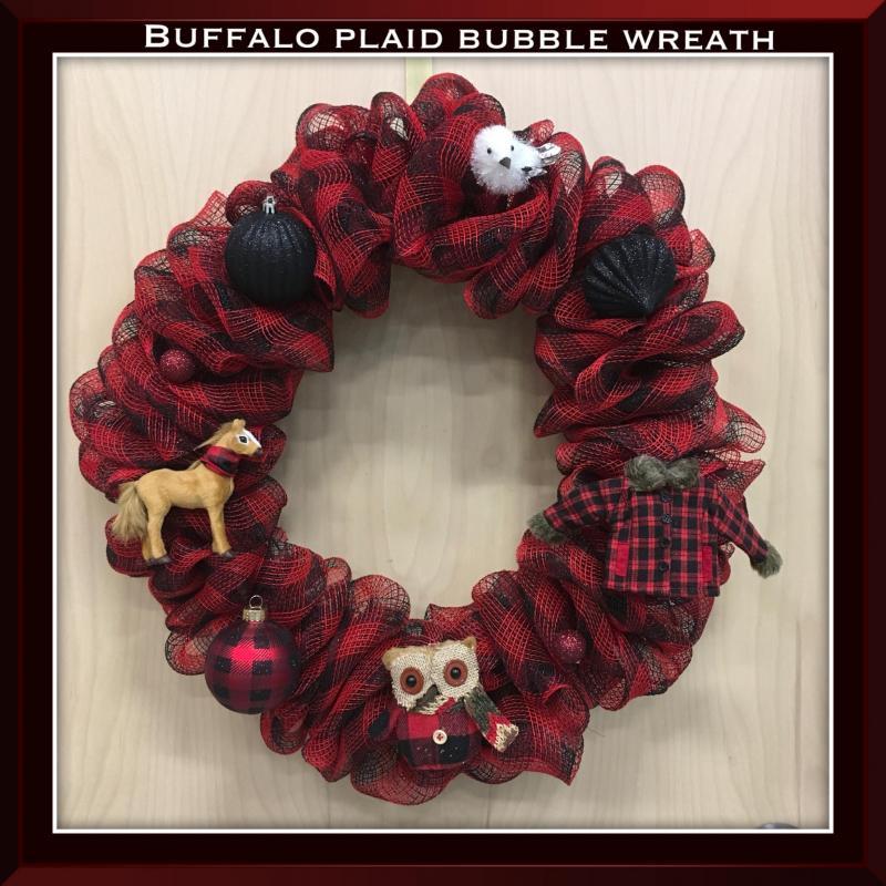 Buffalo Plaid Deco Mesh Bubble Wreath