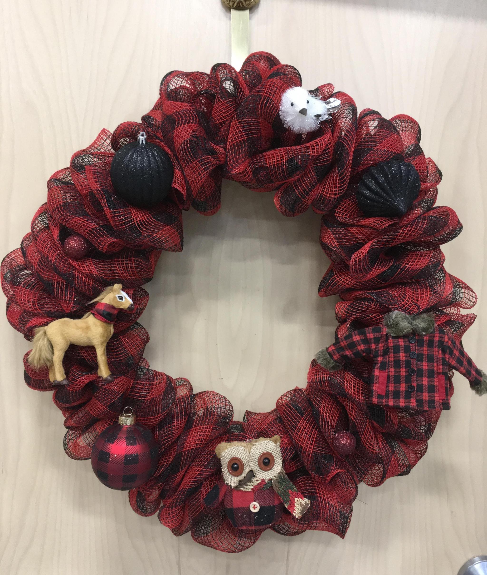 Buffalo Plaid Deco Mesh Bubble Wreath Behold Jewelry Designs West Hartford Ct