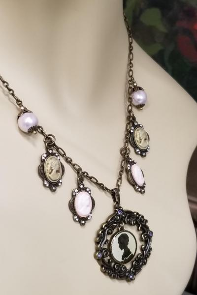 Antique Bronze Cameo Charm Necklace