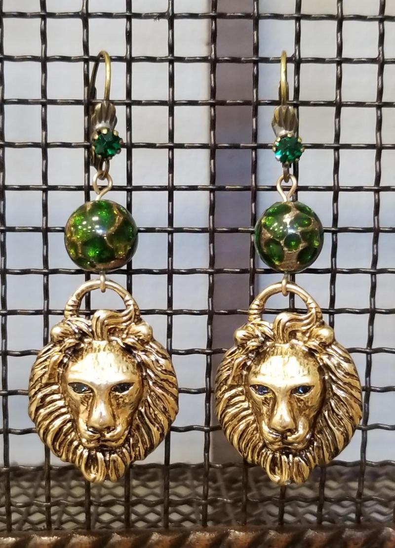 The Emerald Lion Dangle Earrings