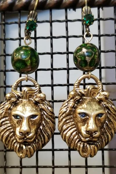 The Emerald Lion Dangle Earrings