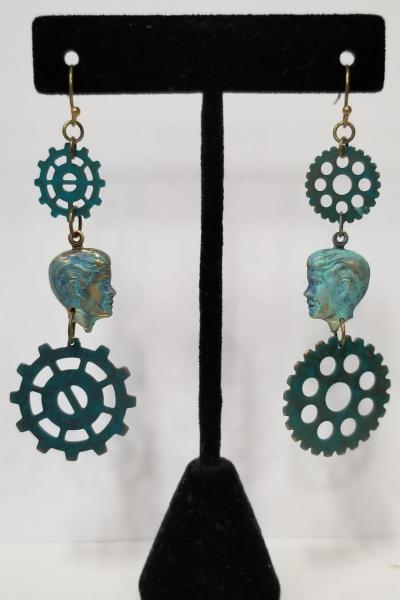 Gear Head Cameo Steampunk Earrings