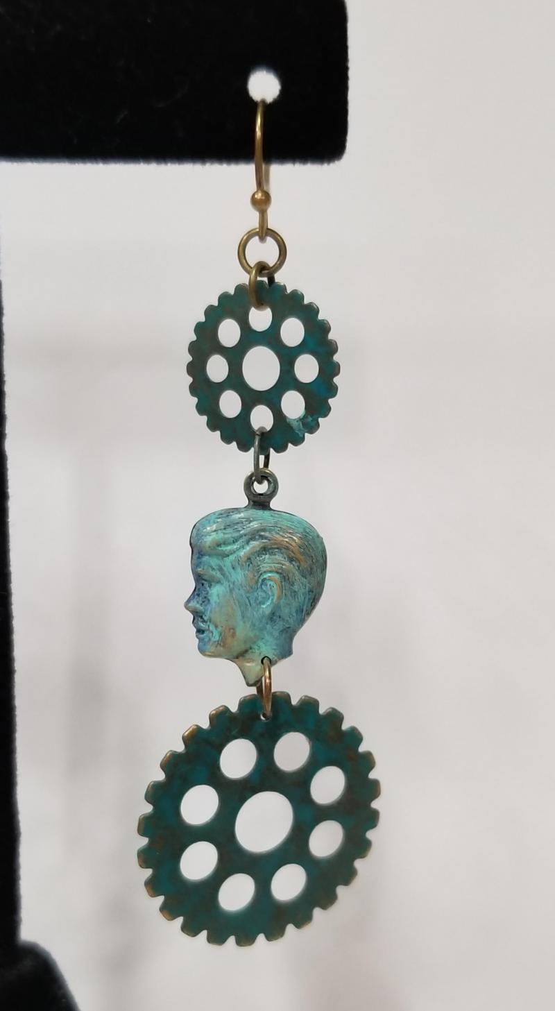 Gear Head Cameo Steampunk Earrings