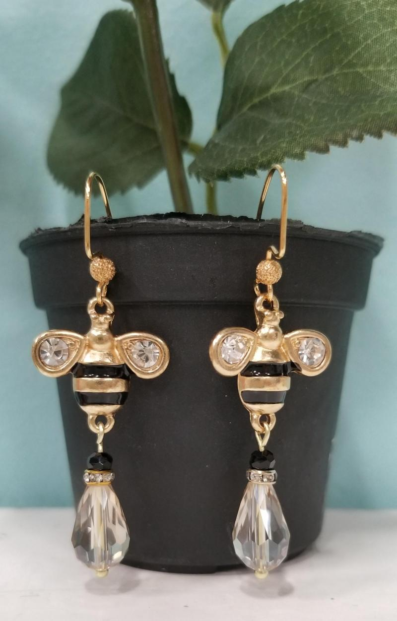 Gold and Crystal Bumble Bee Teardrop Earrings