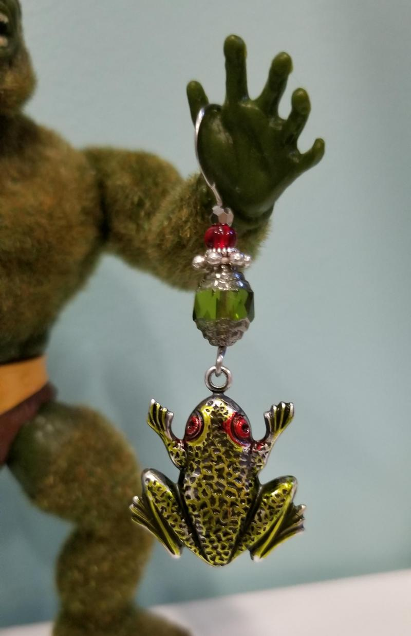 Green Frog with Red Eyes Earrings