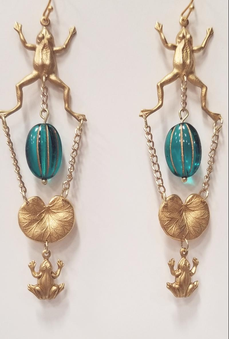 Leap Frogs and Lily Pad Earrings