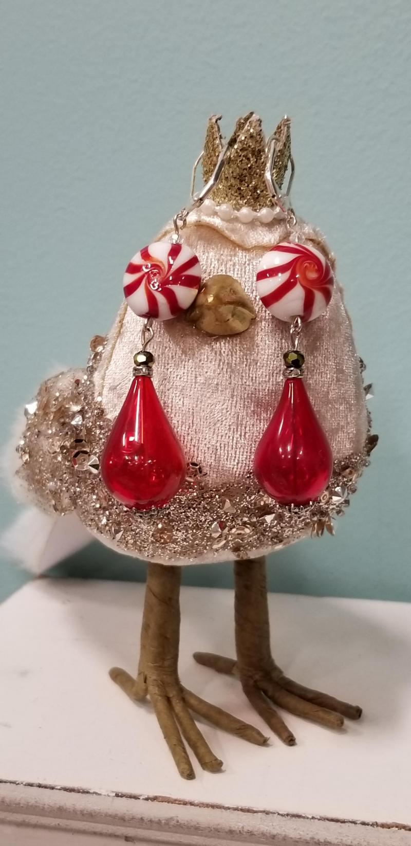 Peppermint Candy Holiday Dangle Earrings