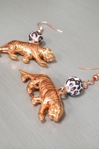 Rose Gold Tiger Earrings