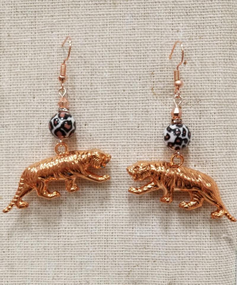 Rose Gold Tiger Earrings