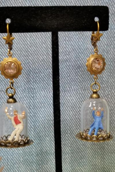 Trapped Man in Cloche Earrings